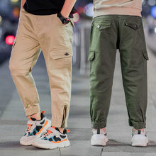 Teenage Boys Cargo Pants with Zipper Pockets Kids Boy Decorated Jogger Children Khaki Army Green Color Trousers