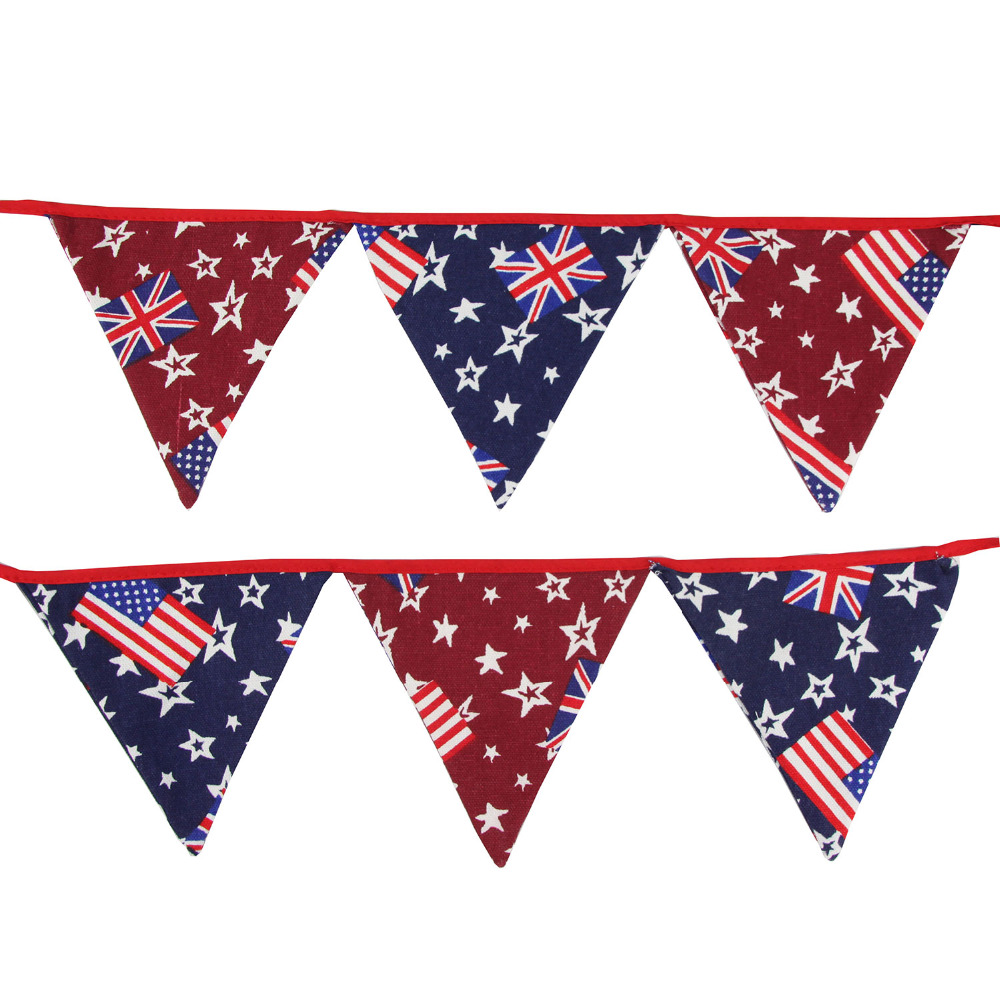 3 2m 12flags Canvas Fabric Bunting Handmade Personality
