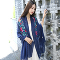 Korean Spring and Autumn winter women embroidery national cotton and linen female shawl scarf dual - use scarf scarves