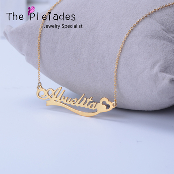 Solid Silver Custom Name Necklace With Heart Lace Personalized Golden Plated Pendent Design Jewelry Unique Gift For BBF