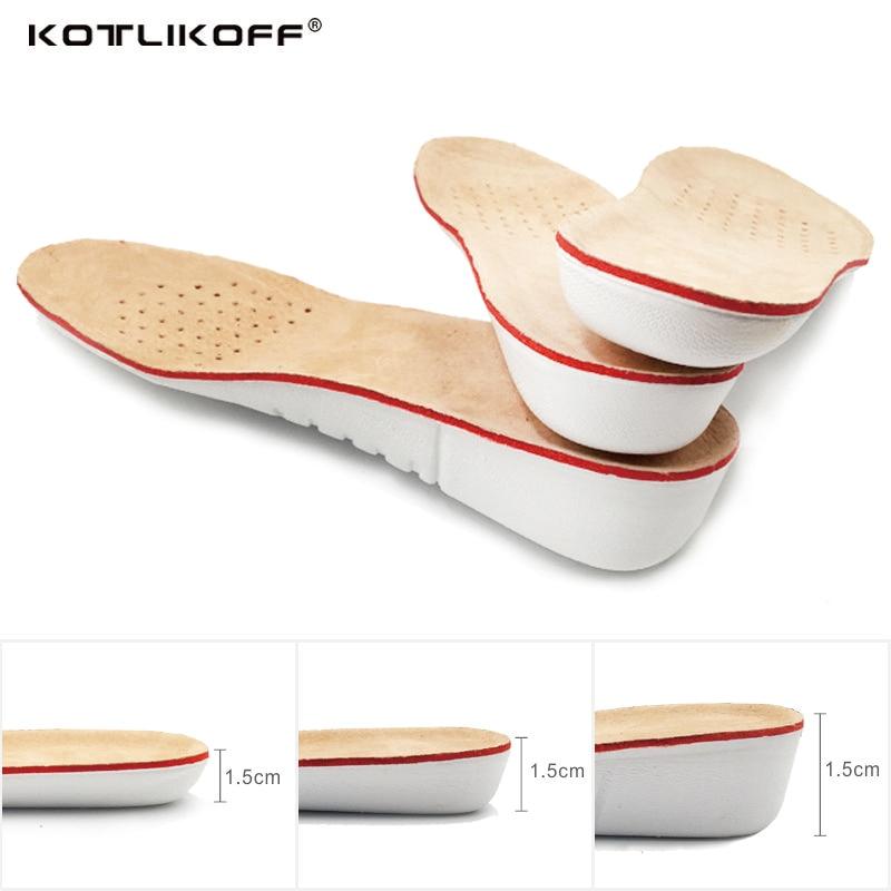 KOTLIKOFF aumento de la altura de la plantilla de EVA de piel de cerdo plantillas de Gel pie plano silicona suela Gel zapatos ortopédicos de incremento ascensor