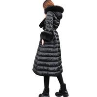 Зимняя куртка Высокая талия длинный абзац пуховая куртка был тонкий выше колена большой меховой воротник утолщенной длинный пуховик