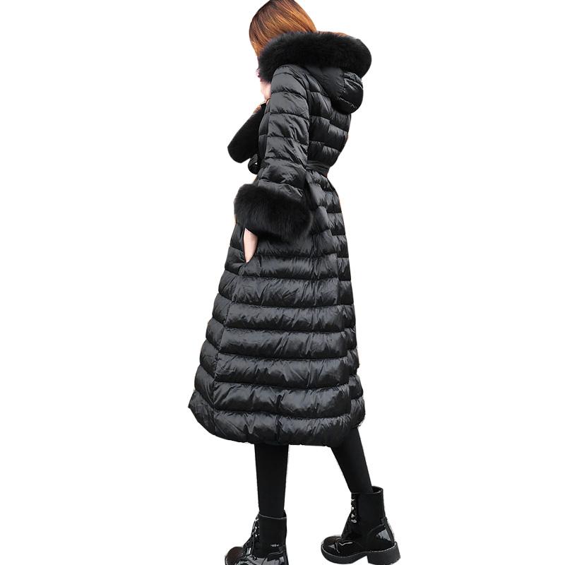 New ladies winter self-cultivation waist long paragraph down jacket was thin over knee large fur collar thickened down jacket
