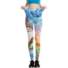 Harajuku Totoro Print Leggins Push Up Fitness Sexy Cartoon 3d Graffiti Women Casual Funny Fitness Leggings WAIBO BEAR