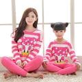 Primavera Outono Família Combinando Pijama Rosa de Algodão Listrada Combinando Roupas Filha Da Mãe de Família Roupas Combinando Olhar Família