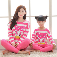 Spring Autumn Family Matching Pajamas Cotton Pink Striped Matching Mother Daughter Clothes Family Matching Clothes Family