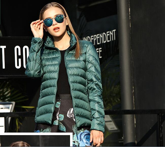 011512 2018 new   down   jacket goose feather   coat   winter puffer jacket ultra thin portable windproof female outwear parka