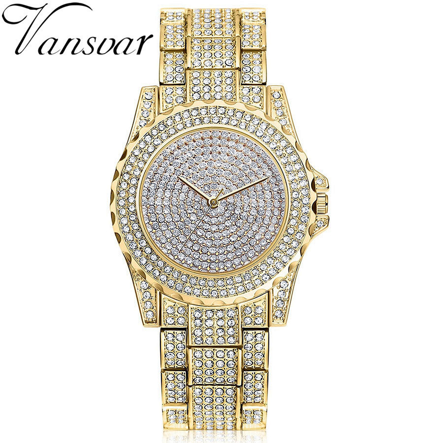 Vansvar Brand Gold Shinning Diomand Rhinestone Bangle Bracelet Wristwatches Women Dress Watch Luxury Austrian Crystals Watch new arrival grace bs brand full diamond luxury bracelet watch hot sale women 14k austrian crystals watch lady rhinestone bangle