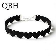 NK174 бренд Torques Bijoux простое массивное черное сердце любовь Чокеры ожерелье для женщин девочек подарок ювелирные изделия колье Femme