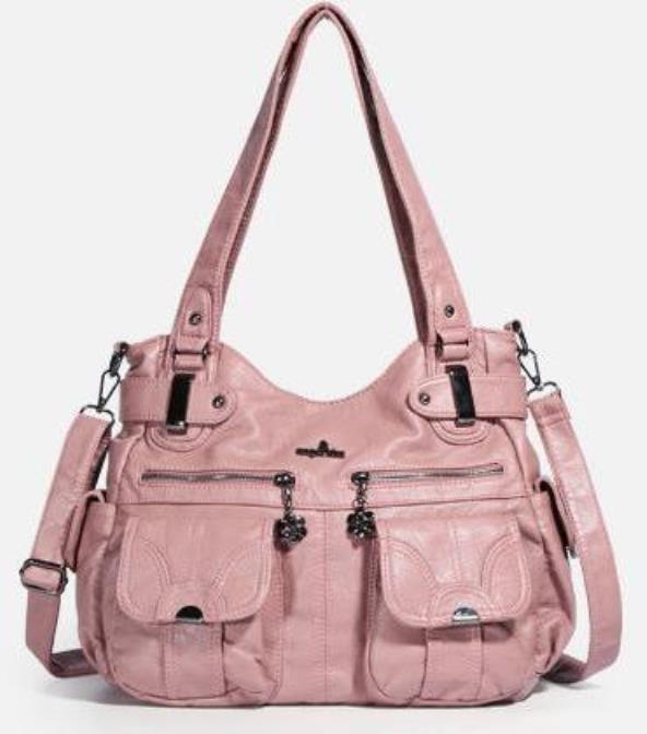 Multi Pockets Soft PU Leather Shoulder Bag Luxury Large Capacity Shipping Travel Crossbody Handbag