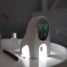 Креативный музыкальный будильник Ночной свет Мода Мультфильм простая собака прикроватная Смарт usb зарядка часы настольная лампа