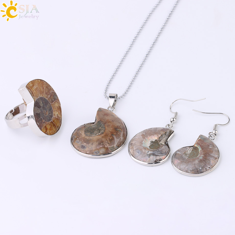 HTB1W7x.XizxK1RjSspjq6AS.pXao - CSJA Hot Natural Ammonite Stone Jewelry Sets Necklace Earrings Ring Conch Shell Whorl Fossils Pendant Beach Jewellery Women F613
