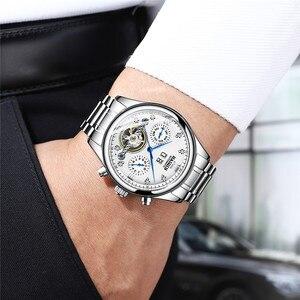 Image 2 - Haiqin relógio mecânico automático, homens relógios top marca de negócios de luxo militar à prova d água relógio turbilhão reloj hombre