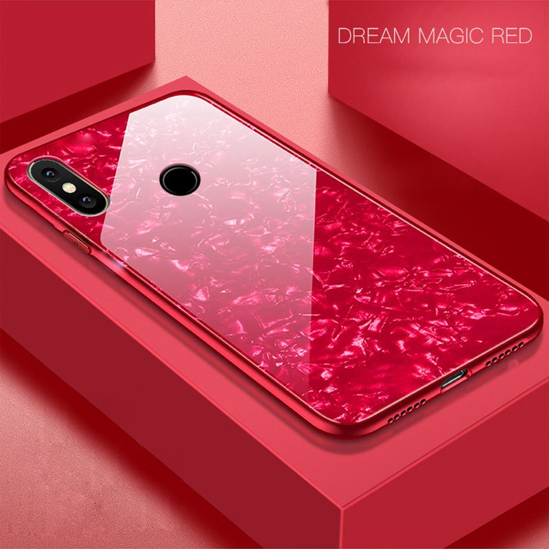 best service 1122c dd32e US $3.43 14% OFF|Bling Shell Tempered Glass Case For Xiaomi Mi 8 SE 6 6X 5X  A1 Note 3 Mix 2 2S Redmi S2 Note 5 Pro Case Glitter Hard Back Cover-in ...