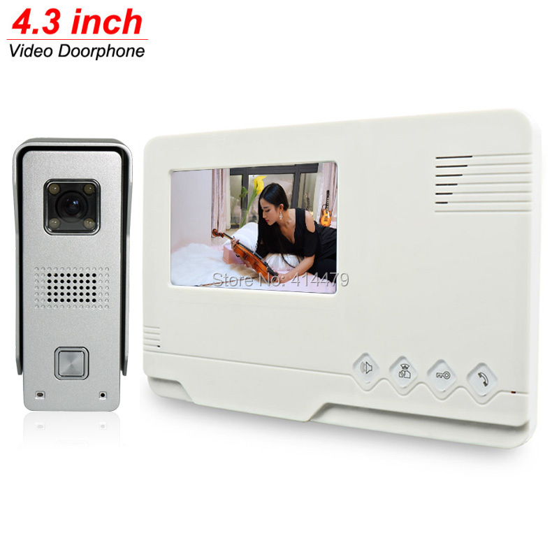 Home Video intercom Doorbell Door Phone System 700TVL Alloy Night Vision Camera 4.3 inch TFT Color Monitor tmezon 4 inch tft color monitor 1200tvl camera video door phone intercom security speaker system waterproof ir night vision 4v1