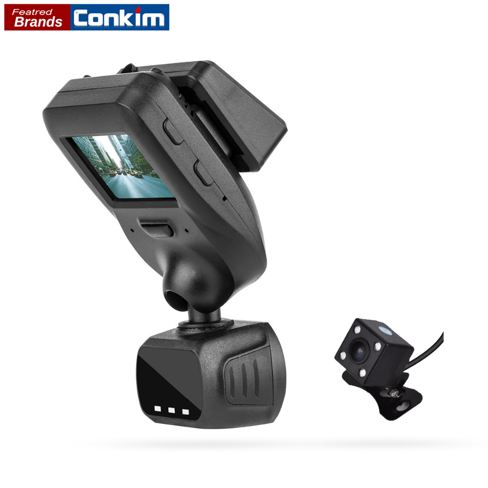 Conkim New Mini Q9 HD Car DVR 2 Cameras Front 1080P+Rear View Camera With Super Capacitor Car Recorder Parking Mode GPS Tracker conkim mini car suction cup holder for car cam dvr windshield stents car gps navigation accessories