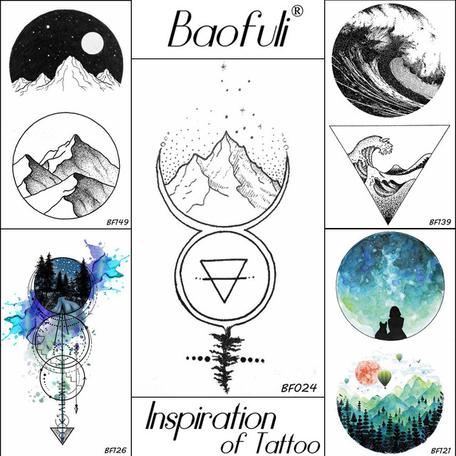 Baofuli 3d Men Temporary Geometric Tattoo Waterproof Mountain