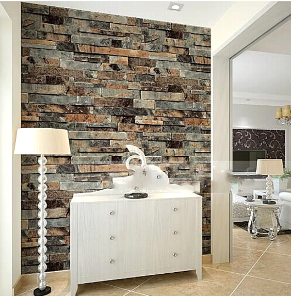 Aliexpress.com : Buy Stone Brick 3D Wallpaper Bedroom Living Room  Background Wall Vinyl Retro Wall Paper Roll Rustic Faux Stone Wallpapers  From Reliable ... Part 79
