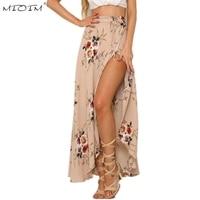 MIOIM Summer Beach Style Skirt Women Long High Split Sexy Skirt Woman Maxi High Waist Boho