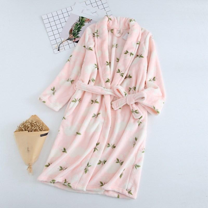 Women Pink White Soft Bathrobe Warm Flannel Long Kimono Bath Robe Long Sleeve Thick Dressing Gown