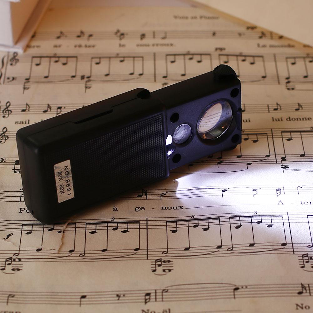 Увеличительное стекло светодиоды светящиеся 60X портативный Выдвижная Лупа УФ свет твитер инструмент