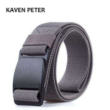Men Plastic Buckle Elastic Belt Male Army Tactical Waist Canvas Belts Cummerbunds High Quality Strap Width 3.8CM Grey Black Red