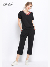 дешево!  Diwish Black Спортивные костюмы Женщины из двух частей Летняя футболка с коротким рукавом + укорочен Лучши