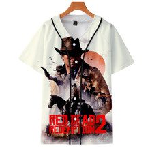 KPOP Red Dead Redemption 2 Summer Baseball Tshirts Unisex America Oversized Clothes 3D T Shirt V Neck Harajuku Tee Shirt Men Top(China)