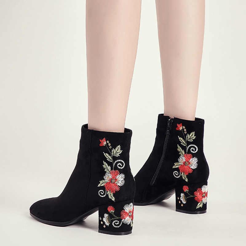 MCCKLE yarım çizmeler kadınlar için kış sıcak peluş moda oyalamak kısa çizmeler bayanlar yüksek topuklu yuvarlak ayak rahat ayakkabılar Zip Mujer