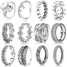 Classic Silver Rings With Leaves Love Heart Winding Crystal Wedding & Party Wide Ring For Women Jewelry