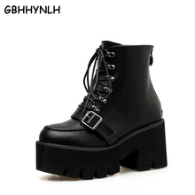 GBHHYNLH Women Ankle Boots Thick Heels Casual Shoes Lacing Round Toe Back Zipper Platform Woman Autumn punk boots LJA422