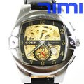 Men Skeleton Automatic Mechanical Square Wrist Watch