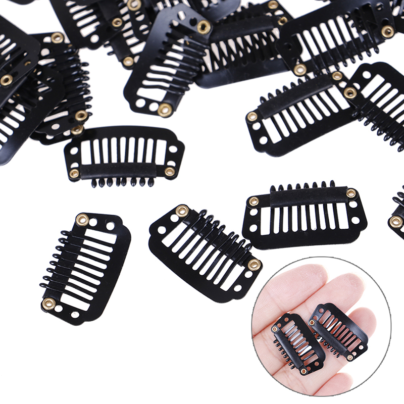 10/100pcs Metal Rubber Wig Clips For Hair Extensions Black Wig Combs Hair Clips For Weave Extensions 2.8cm U/wire Shape Clips