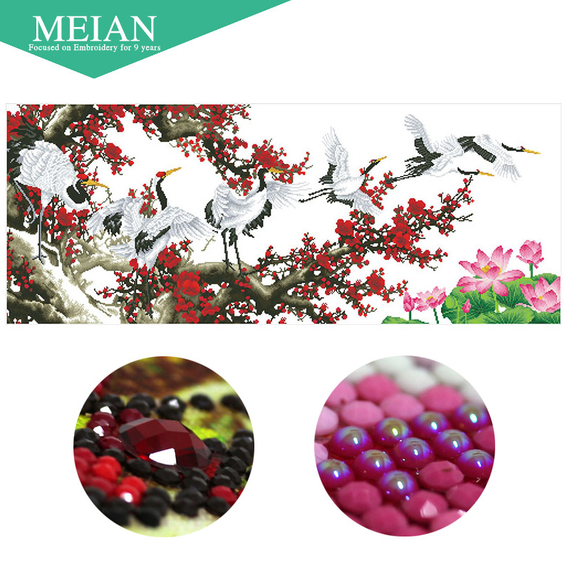 Meian Special Shaped Diamond Embroidery Crane Spring 5D Diamond Painting Cross Stitch 3D Diamond Mosaic Decoration
