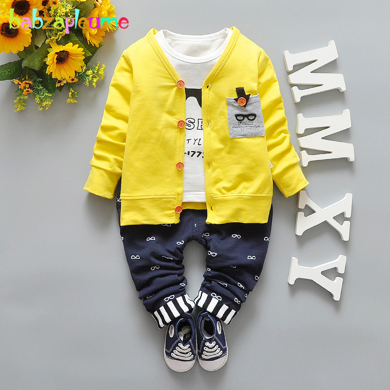 Baby Boy Clothes Casual Children Clothing Kids Long Sleeve Cardigan Jacket+T-Shirt+Pant 3pcs Set Toddler Tracksuit Autumn BC1323