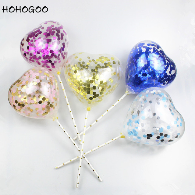 HOHOGOO 1 PC 5 Polegada Amor Colorido Amarrotado Lantejoulas Acessório do Casamento Baby Shower Bolo de Aniversário Balão Bolo Transparente