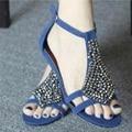 Señora Claussure Peal de talla grande (4-14) Cubierta Zip Hebilla correa Rebaño Sandalias Sapato Feminino de Tacón Bajo tacones zapatos de playa Flip flop
