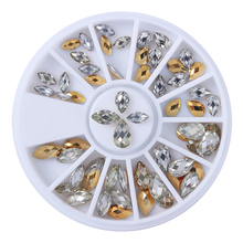 1 Box Gold Silver Nail Rhinestones Waterdrop Design 3D Nail Art Decorations Mixed Color Nail Studs in Wheel Manicure Nail Tool