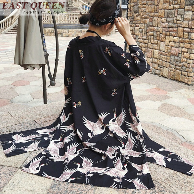 Yukata Kimono Dress Blouse Cardigan Haori Long-Sleeve Traditional Fashion Women FF564