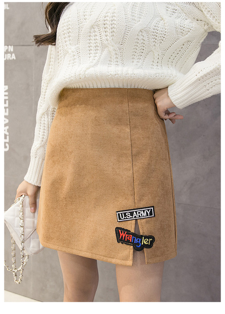 Qooth Autumn Winter Corduroy Skirt Women Carton Print High waist Mini Skirt Preppy Style Solid Color Girl Short Skirt QH1000
