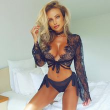 Hot Ladies Sexy Lingerie Underwear Lace Netting Perspective Hollowed Blouse Sexy Long Sleeve Underwear Women Strapless