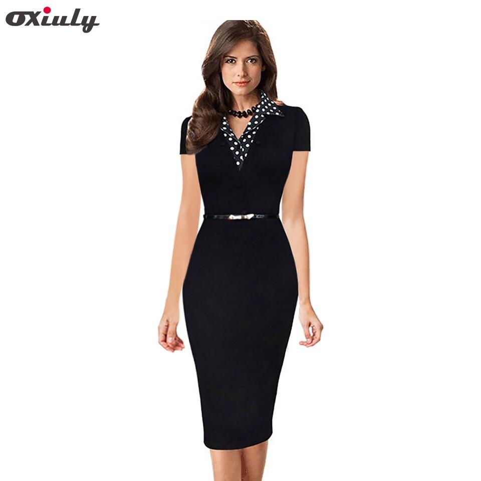 Oxiuly Summer 2017 New Short Sleeve Dot Notched Neck Women Dress Patchwork Office Wear Black Sheath Pencil Dress with Belt short dresses office wear