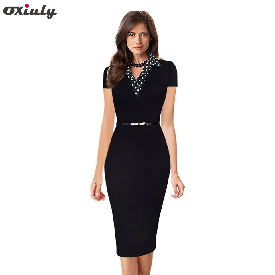 Oxiuly Summer New Short Sleeve Dot Notched Neck Women Dress Patchwork Office Wear Black Sheath Pencil Dress with Belt