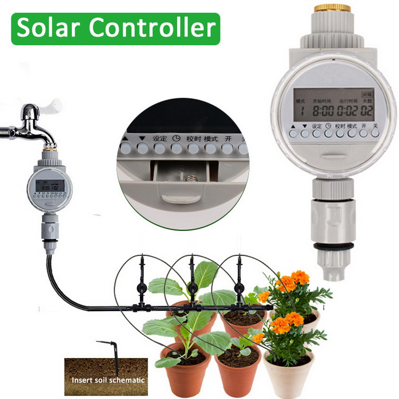 Watering Timer Solar Power Automatic Irrigation Watering Timer Programmable Hose Timers Irrigation System for Greenhouse Plant(China)