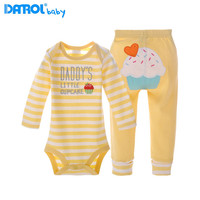 1 Set Ice Cream Baby Bodysuits Pants Set DANROL Baby Girls Boys Clothing Long Sleeved Cotton
