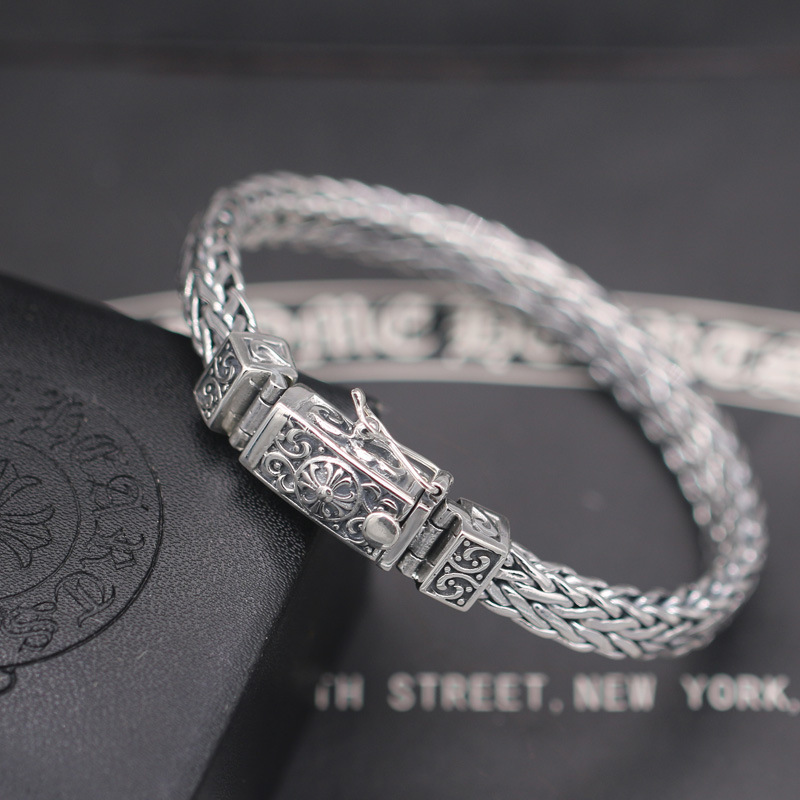 S925 Sterling Silver Hand-woven Crucifix Punk Style Male And Female Retro Thai Silver Fashion Bracelet