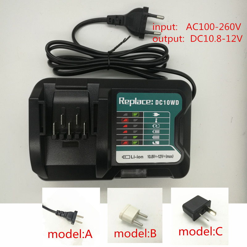 Charger Replace For MAKITA 10.8V 12V DC10WD BL1015 BL1016 BL1021B BL1041B  DC10SB BL1040B BL1015B BL1020B DC10SA