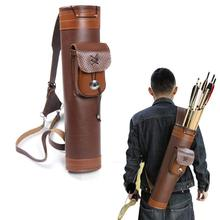 Huntingdoor Traditional Shoulder Back Quiver Bow Leather Arrow Holder with Large Pouch Handmade Straps Belt Bag