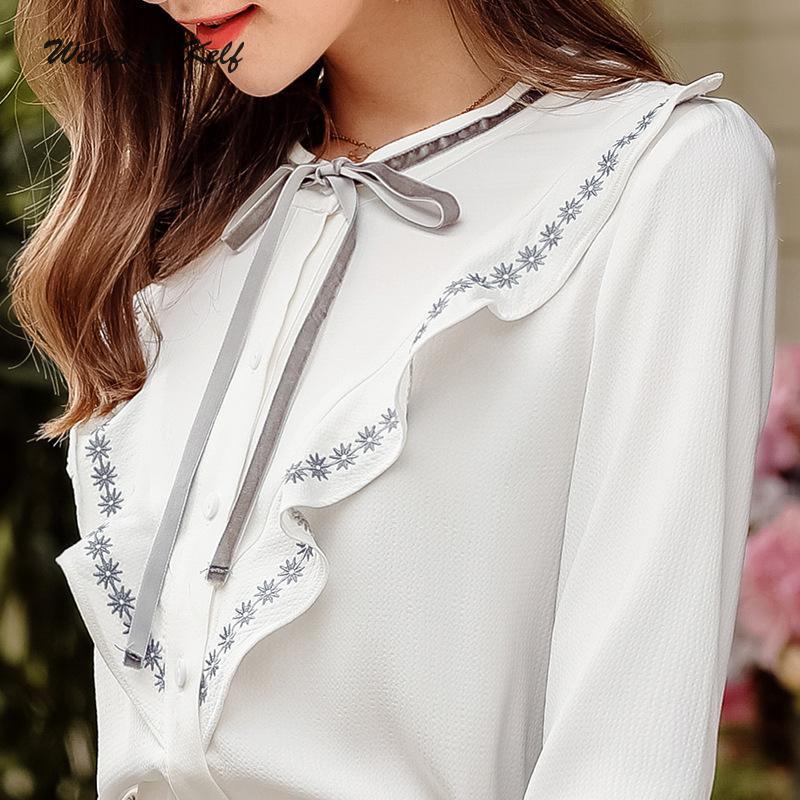Weyes & Kelf automne simple boutonnage solide volants Blouse haut pour femme 2018 blanc femmes Blouses Mujer dentelle Blouse