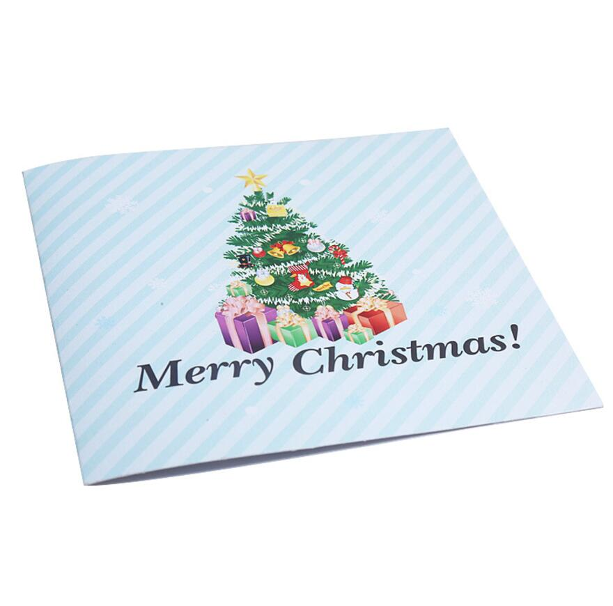 10pcs Colour Printed Christmas Tree Origami 3D Pop UP Greeting Cards ...